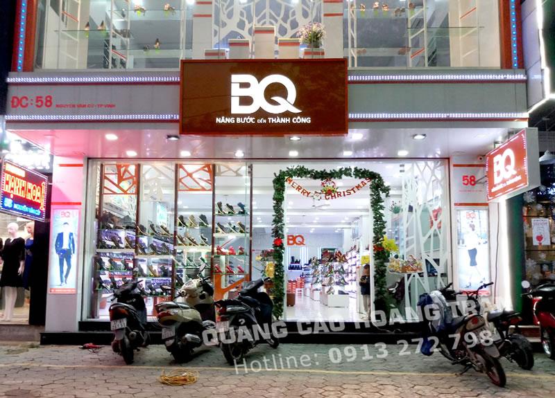 Thi công biển quảng cáo cửa hàng giày BQ tại Nghệ An, Hà Tĩnh